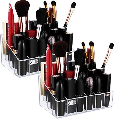 2 Stücke 24 Gitzer Klare Lippenstift Halter Lipgloss Halter Organizer Lipgloss Vitrinen Acryl Makeup Halter Organizer für Lippenstift, Pinsel, Flaschen