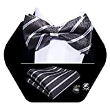 Barry.Wang Mens Black White Bow Tie and Pocket Square Set Silk Pretied Bow Tie Hankerchief Cufflinks …