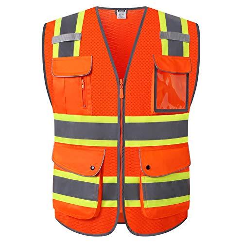 HATAUNKI Class 2 Retro-Reflection Orange Mesh Safety Vests With 9 Pockets and Front Zipper ANSI/ISEA 107-2015 (Orange-04, Large)