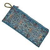 Geldbeutel Stoffbeutel Geldbörse mit Reißverschluss Handarbeit Bestickt Tasche Gross Farbe Hellblau