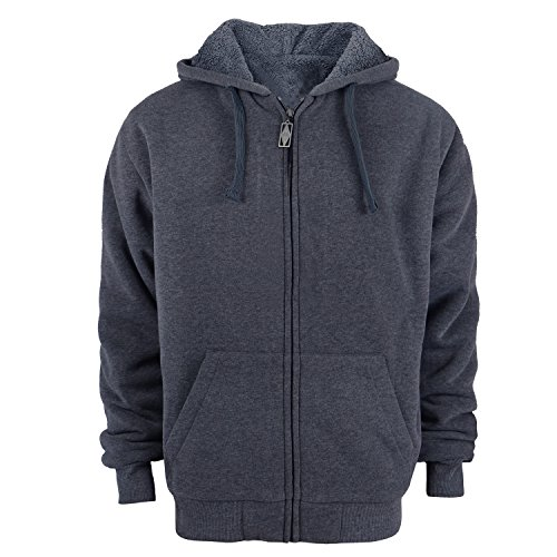 Heavyweight Hoodies for Men, Sherpa Lined Fleece Sweatshirts Full Zip Up Winter Jackets (Dark Grey, M)