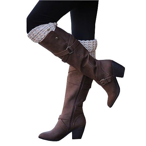 296504ecb00d Dellytop Womens Riding Boots Calf Length Block High Heel Buckle Strap Side  Zip Shoes