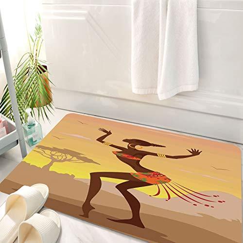 Alfombra de baño, Alfombra Absorbente Antideslizante, Decoración afro, dama étnica en persona de danza ritual en figuras de estilo , Alfombra de baño de Microfibra esponjosa, avable a máquina 50x80 cm