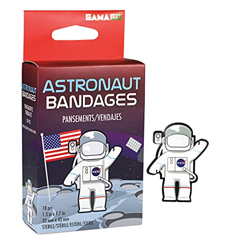 GAMAGO NASA Bandages for Kids & Kidults - Set of 18 Individually Wrapped Self Adhesive Bandages - Sterile, Latex-Free & Easily Removable - Funny Gift & First Aid Addition