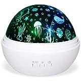 Perfit Proyector de cielo estrellado LED, lámpara de noche, proyector giratorio con animales marinos y estrellas y luna, cubierta para dormitorio infantil