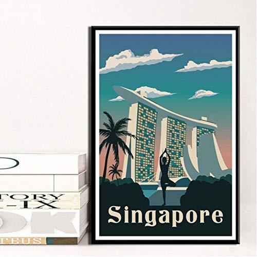 QIUFANGGUO affiche New York Londen Amsterdam Venetië reistaden landschap kunst canvas schilderij wandfoto's woonkamer wooncultuur 50 * 70 cm zonder lijst