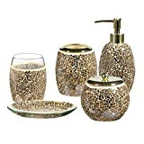 Whole Housewares Bathroom Accessories Set, 5-Piece Glass Mosaic Bath Accessory Completes with Lotion Dispenser/Soap Pump, Cotton Jar, Soap Dish,Tumbler, Toothbrush Holder (Gold)
