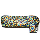 Nevlers Inflatable Lounger with Side Pockets and Matching Travel Bag - Rainbow Hearts Design - Waterproof and Portable - Great for The Beach, Park, Pool, and as Camping Accessories