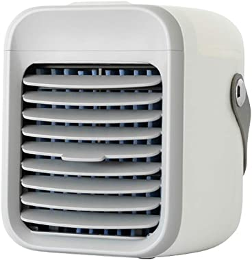RUIVE Blaux Wearable AC Small Portable Air Conditioner Fan USB Mini Rechargeable Water Cooled Air Conditioner with Handle Air Cooler with 3 Speeds 7 Colors LED Light for Dormitory Office (White)