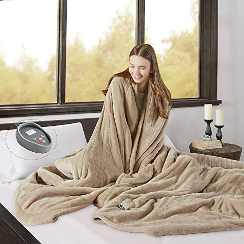 Beautyrest Microlight to Berber Elect Electric Blanket with Two 20 Heat Level Setting Controllers,...