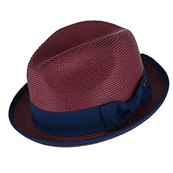 Epoch Hats Company Men s Fedora with Contrast Band and Trim Small/Medium Burgundy