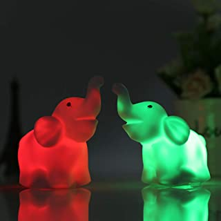 Sungpunet 2Pcs/Pack Elephant Shape Color Changing LED Night Light Lamp Venue Party Decor