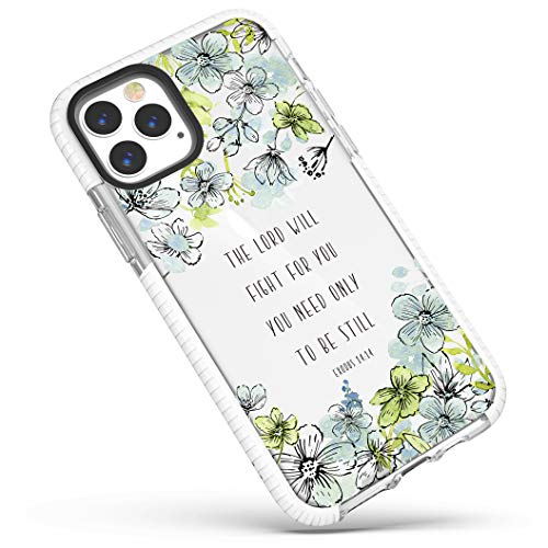 iPhone 12/iPhone 12 Pro Case,Blue Floral Inspirational Scripture Bible Verses Christian Quotes Exodus 14:14 Soft Protective Clear Design Case for Girls Women Compatible for iPhone 12/iPhone 12 Pro