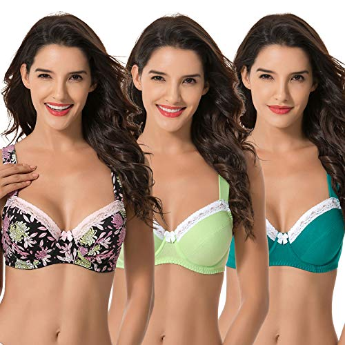 Curve Muse Women's Plus Size Underwired Unlined Balconette Cotton Bra-3Pack-DARK Green,Lemon,Black PRINT-40B