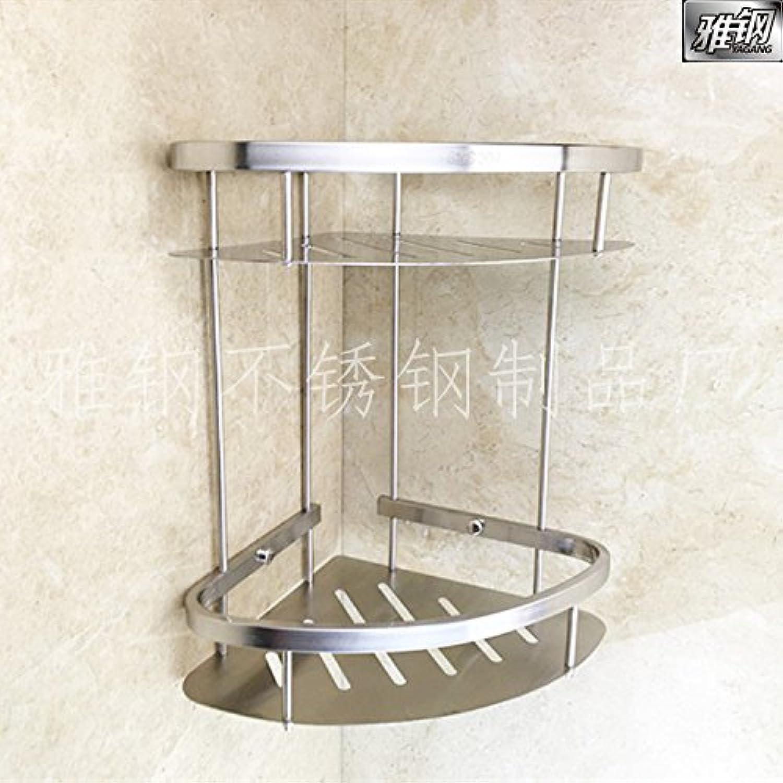 Stainless steel bathroom double triangle rack basket scalloped square rack wall mount corner shelf