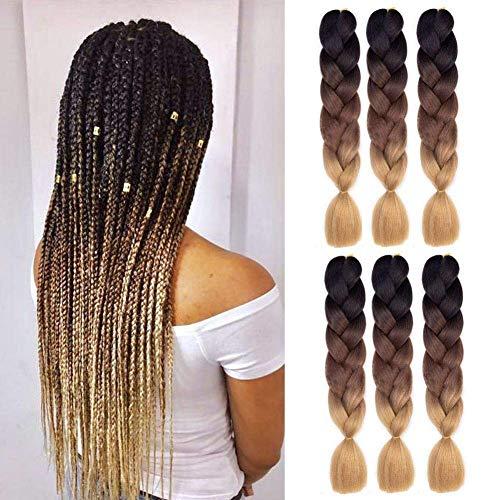 Ombre Braiding Hair Synthetic Kanekalon Hair Extensions Accessories for Women Kids (Jumbo Braiding-6PCS, Brown gradient braid B1)
