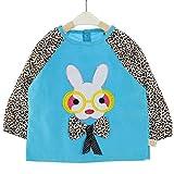 YuJian12 De Manga Larga Ropa Pana del Delantal del Babero de algodón de los niños del bebé Impermeable Anti-Vestir bebé Comer Babero Baberos de Manga Larga (Color : Blue, Size : M 73-80cm)