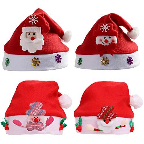 Sombrero De Papé Noel De Felpa Corta Para Adultos Gorro NavideñO Y Sombrero Rojo De Santa Claus Gorro De Papá Noel De Felpa Sombrero De Santa Para Adultos Suministros Fiestas Feliz Navidad 4 Piezas
