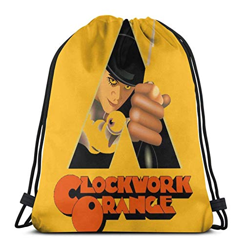 asdew987 Bolsas con cordón de reloj naranja unisex mochila con cordón bolsa de deporte bolsa de cuerda bolsa grande con cordón bolsa de asas bolsa de gimnasio mochila a granel