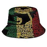 Rasta Reggae Rastafarian Flag Lions Love Fold Packable Fishermans Hat, Mujer Hombre Verano Hawaii Moda Sun Protección UV Boonie Sombreros Gorra de Camionero para Viajes Pesca al Aire Libre
