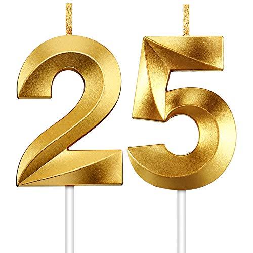 Hicarer 2 Piezas Velas de Número Velas Doradas Brillantes Velas de Tartas de Cumpleaños Toppers de Pastel Decorativo para Boda Cumpleaños Aniversariio Celebración Graduación (Número 25)