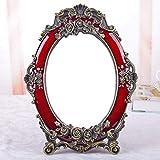 Espejo de Maquillaje de Boda del Regalo del Espejo Rojo Novia Retro Escritorio Espejo de Vestir Princesa exótica del Viento (Color : Red, Size : 21 * 29cm)