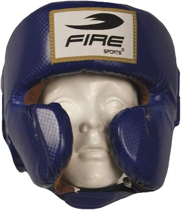 FIRE SPORTS PVC お得セット Boxing Headguard Cheek Blue Protection ラッピング無料 with