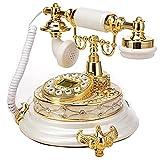 WaWeiY Antiguo teléfono Fijo para el teléfono Anciano clásico Retro Blanco Vintage...