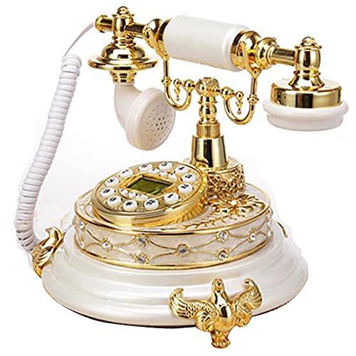 ZHPBHD Teléfono Antiguo teléfono Fijo para el teléfono Anciano clásico Retro Blanco Vintage de Escritorio Fijo teléfono Hecho de Resina hogar Oficina Europa