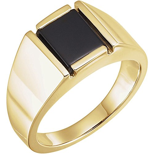 JewelryWeb Anillo de ónice de oro amarillo de 14 quilates, 10 x 8 mm, para hombre, talla V 1/2