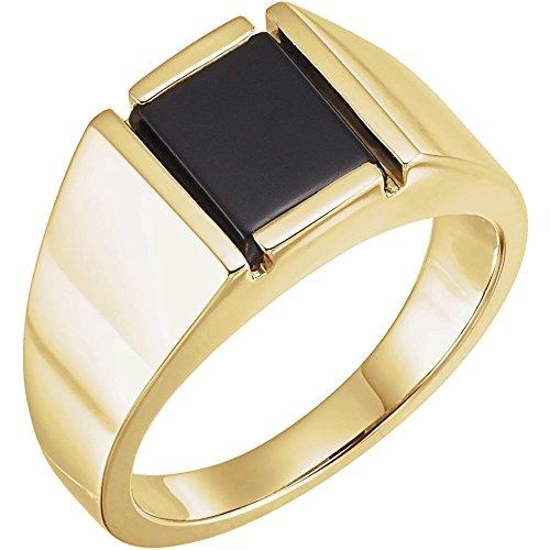 JewelryWeb Herren-Ring 14 Karat (585) Gelbgold künstlicher Onyx 10 x 8 mm Größe V 1/2