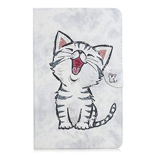 Samsung Galaxy Tab A 10.5'' Hülle Case - Ultra Slim Leder Tasche Hülle Skin für Samsung Galaxy Tab A (2018) SM-T590N/T595N (10,5 Zoll) Schutzhülle Smart Case Cover mit Standfunktion (Kitty)