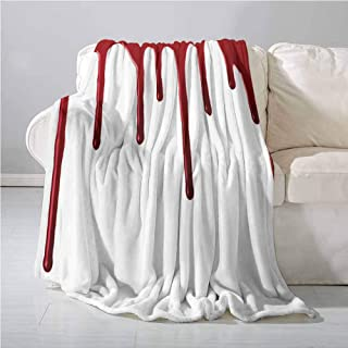 Bloody Comfortable Warm Microfiber Blanket Flowing Blood Horror Spooky Halloween Zombie Crime Scary Help me Themed Illustration All Season Blanket 70 x 90 Inch Red White