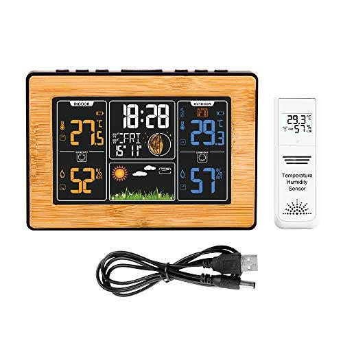 Protmex Funkwetterstation mit Außensensor Innen- und Außentemperatur und Luftfeuchtigkeit Alarm Relativer Luftdruck Mondphase Uhr 201B