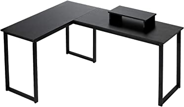 HEEYUE Computer Desk, L-Shaped Large Corner PC Laptop Study Table Workstation Gaming Writing Desk for Home Office - Free M...