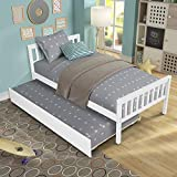FLASHTK Solid Wood Twin Size Platform Bed with Trundle, Wooden Bed Frame Twin Trundle Bed with Headboard and Footboard No Box Spring Required(White)