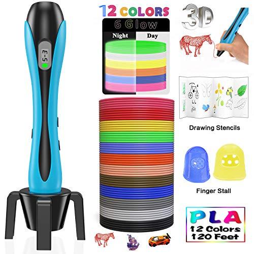 3D Printing Pen Creative DIY Gift Adjustable Temperature//Speed Replaceable Nozzle 12 Colors PLA Filament Set GIANTARM Stylo 3D Stylos dimpression 3D