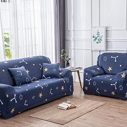 Funda de sofá de 4 Plazas Funda Elástica para Sofá Poliéster Suave Sofá Funda sofá Antideslizante Protector Cubierta de Muebles Elástica Estrellas Azules Funda de sofá