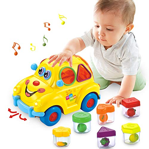 HOMOFY Musical Car Toy Fruit Shape Early Education Baby Toys 12-18 Months Fruit Shape Sorters Omni-Directional Wheel Cute Car with Music/Lights/Block Gifts Toys for 1 2 3 4 Year Old Boys/Girls/Kids