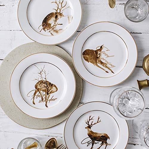 MJHSP Japanese Deer Dish Ceramic Illustration Dish Phnom Penh Art Salad Flat Plate (Color : D, Size : 20.5cm)