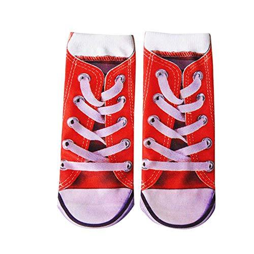 VJGOAL Moda casual unisex Divertido loco Loco 3D Impreso Novedad Tubo corto Calcetines deportivos lindos(Un tamaño,Rojo1)