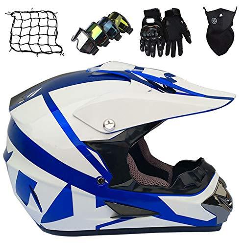 Casco Moto, Casco Motocross Niños con Gafas/Guantes/Máscara/Red Elástica, Casco Motocicleta Todoterreno Integral Adultos & Jóvenes, Equipo Protección para Bicicleta Downhill MTB, Blanco Brillante Azul