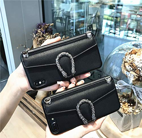 iPhone Xs Max Chain Card Case, SelliPhone Luxury Fashion Cute Black PU Leather Card Slot Snake Head Stand Case with Metal Chain Crossbody Unique Women Girl for iPhone Xs Max 6.5''