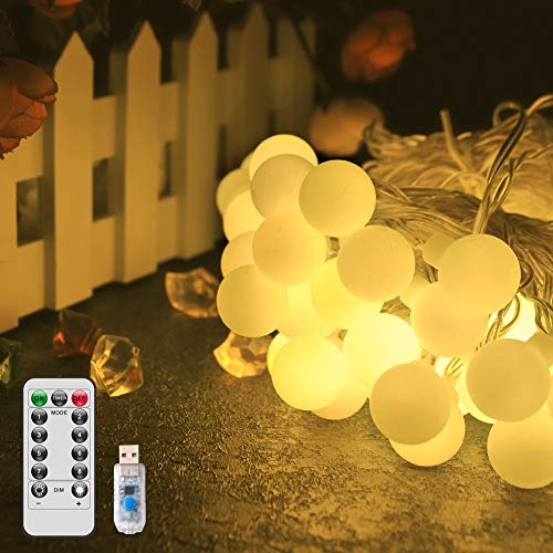 LED Globe String Light,New-USB Fairy Lights,IP67 Waterproof,8 Modes,16.5ft Ball Fairy Lights with Remote & Timer for Outdoor,Party, Gazebo,Christmas,Wedding,Bedroom Decoration(Warm White)