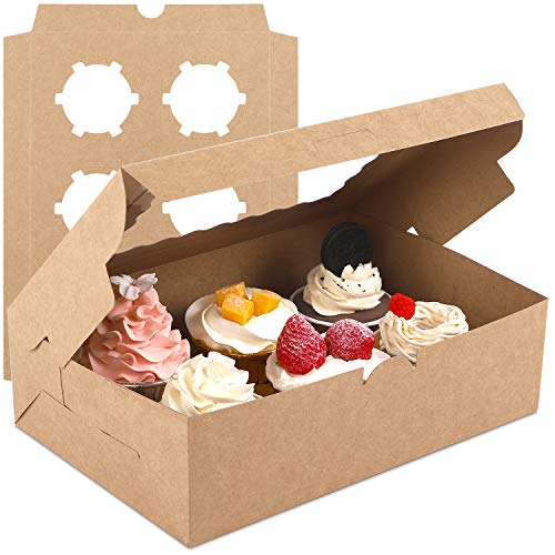 Moretoes 24 Sets Cupcake Boxes with Inserts Bakery Boxes with Window Fit 6 Cupcakes or Muffins