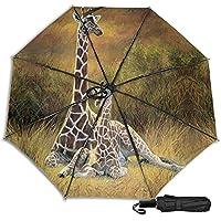 Giraffe Mum And Baby Mescchsk防風二重層通気性トラベル傘、防水コーティング生地、持ち運びと旅行が簡単。