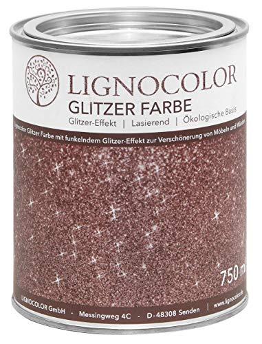Lignocolor Glitzer Farbe (750 ml, Copper) für Möbel und Wände in Glitter Optik, Effektfarbe Glitzereffekt, transparent lasierend – hergestellt in Deutschland