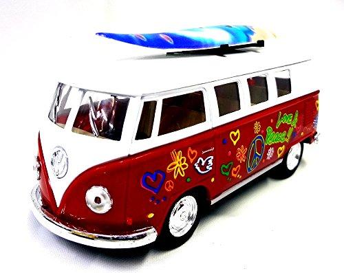 Kinsmart 1962 Volkswagen Classic Bus w / Surfboard & Decals Farbe Rot 1:32 Modellautos 5060DS