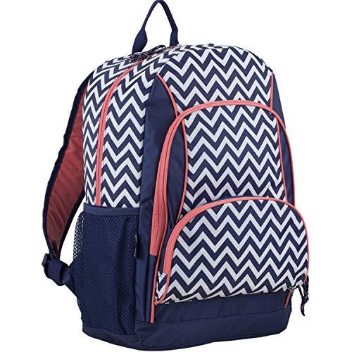 Eastsport Multi Pocket School Backpack, Sweet Coral/Deep Cobult Blue/Chevron Print