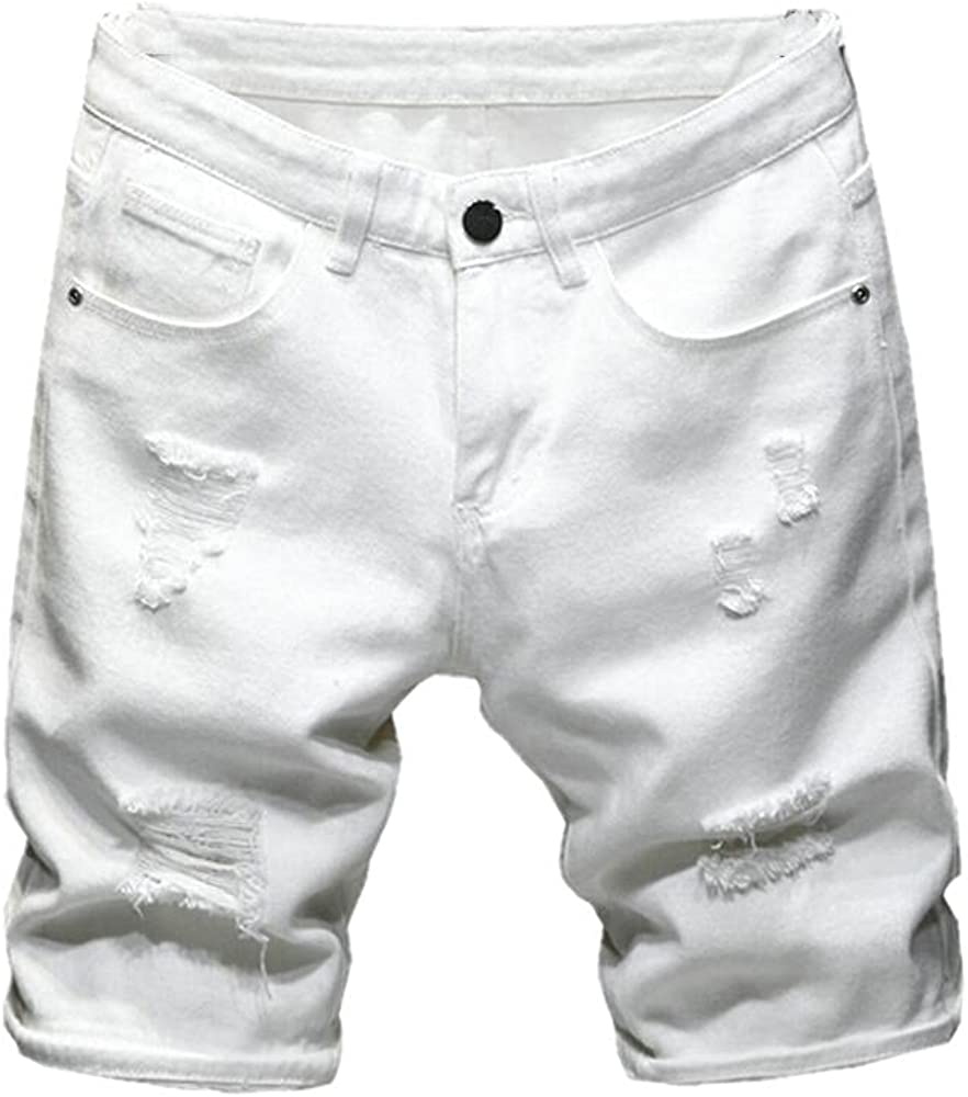 Summer Men's Ripped Denim Shorts Classic Style Black White Casual